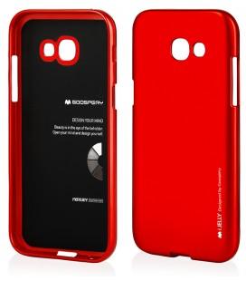 """Raudonas silikoninis dėklas Samsung Galaxy A5 2017 telefonui """"Mercury iJelly Case Metal"""""""