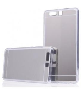 """Sidabrinės spalvos silikoninis dėklas Huawei P10 telefonui """"Mirror"""""""