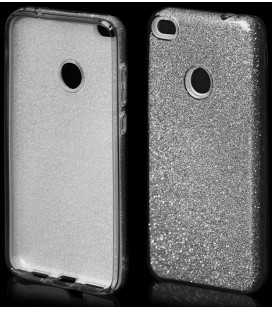 """Juodas silikoninis blizgantis dėklas Huawei P8/P9 Lite 2017 telefonui """"Blink"""""""
