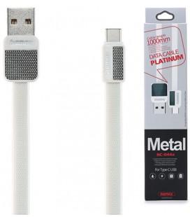 "Baltas Type C - USB laidas 1m ""Remax Metal RC-044a"""