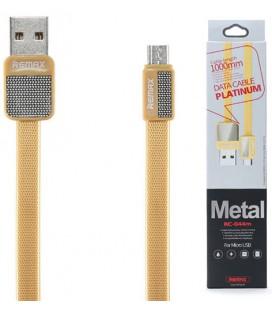 """Auksinės spalvos MicroUSB - USB laidas 1m """"Remax Metal RC-044m"""""""