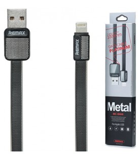 "Juodas iPhone Lightning - USB laidas 1m ""Remax Metal RC-044i"""