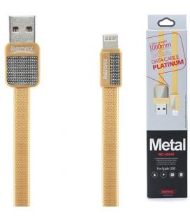 "Auksinės spalvos iPhone Lightning - USB laidas 1m ""Remax Metal RC-044i"""