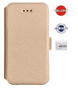 """Auksinės spalvos atverčiamas dėklas Samsung Galaxy Xcover 4 telefonui """"Telone Book Pocket"""""""