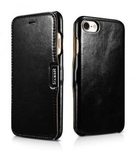 """Juodas odinis atverčiamas dėklas Apple iPhone 7 telefonui """"iCarer Vintage"""""""