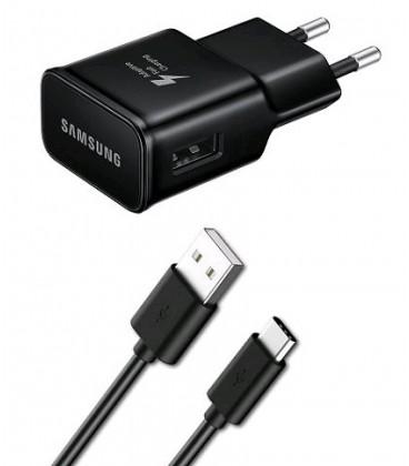 Originalus Samsung juodas pakrovėjas ir USB Type C EP-TA20EBE + EP-DG950CBE