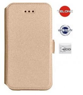 """Auksinės spalvos atverčiamas dėklas Huawei P10 telefonui """"Telone Book Pocket"""""""