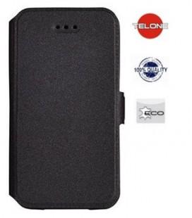 """Juodas atverčiamas dėklas Huawei P10 Lite telefonui """"Telone Book Pocket"""""""