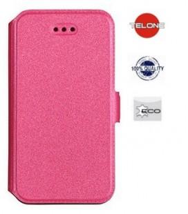 """Rožinis atverčiamas dėklas Huawei P10 Lite telefonui """"Telone Book Pocket"""""""