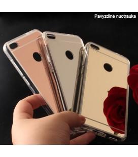"""Sidabrinės spalvos silikoninis dėklas Huawei P8/P9 Lite 2017 telefonui """"Mirror"""""""