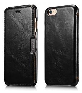 """Juodas odinis atverčiamas dėklas Apple iPhone 6/6s telefonui """"iCarer Vintage"""""""