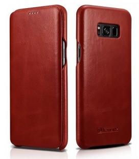 """Raudonas odinis atverčiamas dėklas Samsung Galaxy S8 telefonui """"iCarer Vintage"""""""