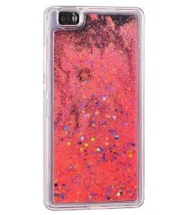 """Raudonas silikoninis dėklas su blizgučiais Samsung Galaxy J3 2017 (j327) telefonui """"Water Case Stars"""""""