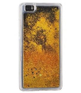 """Auksinės spalvos silikoninis dėklas su blizgučiais Samsung Galaxy J3 2017 (j327) telefonui """"Water Case Stars"""""""