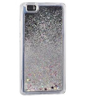 """Sidabrinės spalvos silikoninis dėklas su blizgučiais Samsung Galaxy J3 2017 (j327) telefonui """"Water Case Stars"""""""