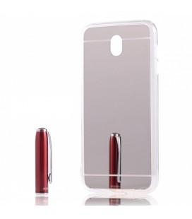 """Sidabrinės spalvos silikoninis dėklas Samsung Galaxy J7 2017 telefonui """"Mirror"""""""