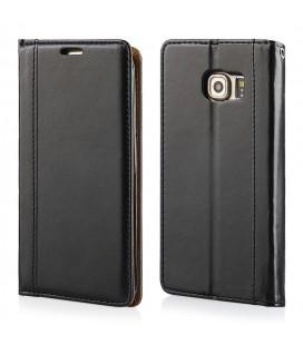 """Juodas atverčiamas dėklas Samsung Galaxy S6 Edge telefonui """"Elegance"""""""