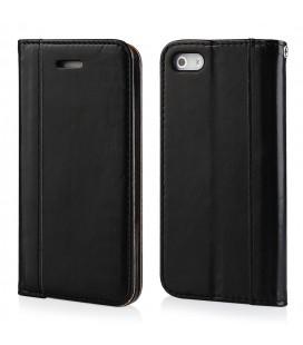 """Juodas atverčiamas dėklas Apple iPhone 5/5s/SE telefonui """"Elegance"""""""