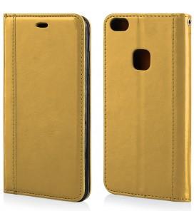 """Auksinės spalvos atverčiamas dėklas Huawei P10 Lite telefonui """"Elegance"""""""