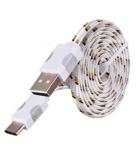 USB - Type C laidas su LED pašvietimu - Baltas