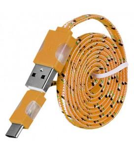 USB - Type C laidas su LED pašvietimu - Oranžinis