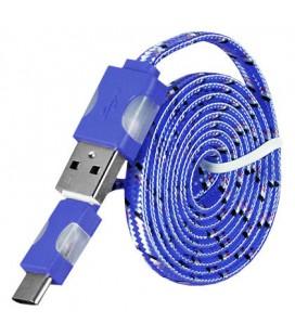 USB - Type C laidas su LED pašvietimu - Mėlynas