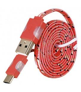 USB - Type C laidas su LED pašvietimu - Raudonas