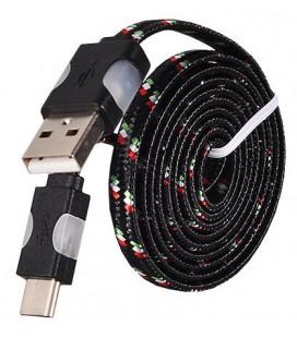 USB - Type C laidas su LED pašvietimu - Juodas