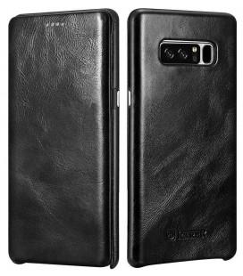 """Juodas odinis atverčiamas dėklas Samsung Galaxy Note 8 telefonui """"iCarer Vintage"""""""