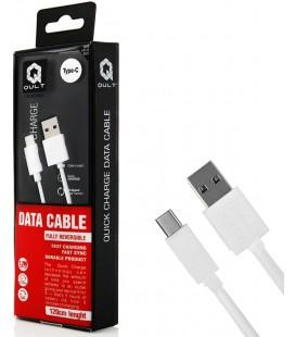 """Baltas Type C - USB laidas 1.2m """"Qult Quick Charge 2.0"""""""
