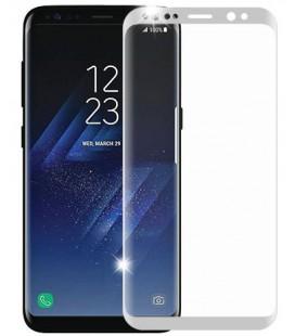 Lenktas sidabrinės spalvos apsauginis grūdintas stiklas Samsung Galaxy S8 telefonui
