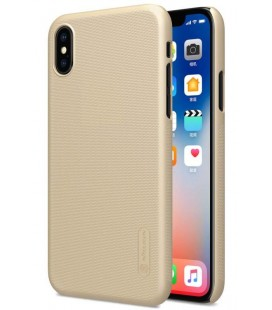 """Auksinės spalvos plastikinis dėklas Apple iPhone X telefonui """"Nillkin Frosted Shield"""""""