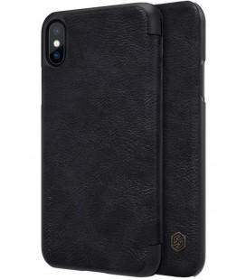 """Odinis juodas atverčiamas dėklas Apple iPhone X telefonui """"Nillkin Qin"""""""