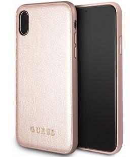 """Rausvai auksinės spalvos dėklas Apple iPhone X telefonui """"Guess Iridescent"""""""