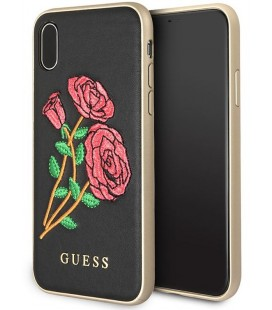 "Juodas dėklas Apple iPhone X telefonui ""Guess Flower Desire"""