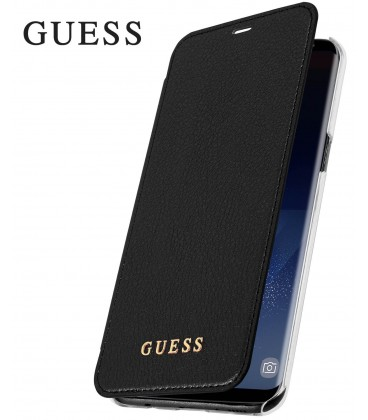 """Juodas atverčiamas dėklas Samsung Galaxy S8 Plus telefonui """"Guess Iridescent Book"""""""