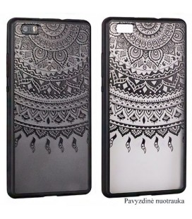 """Juodas dėklas su ornamentais Huawei P10 telefonui """"Lace Case D1"""""""