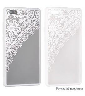 """Baltas dėklas su ornamentais Samsung Galaxy S7 Edge telefonui """"Lace Case D2"""""""
