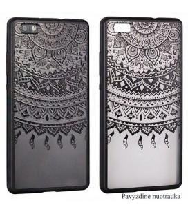 """Juodas dėklas su ornamentais Samsung Galaxy S7 telefonui """"Lace Case D1"""""""