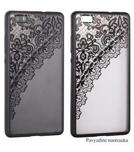 """Juodas dėklas su ornamentais Samsung Galaxy S7 telefonui """"Lace Case D2"""""""