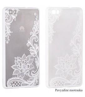 """Baltas dėklas su ornamentais Samsung Galaxy S7 telefonui """"Lace Case D4"""""""