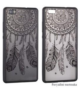 """Juodas dėklas su ornamentais Huawei Y7 telefonui """"Lace Case D3"""""""