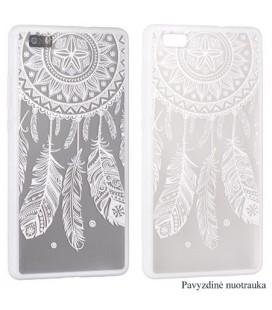 """Baltas dėklas su ornamentais Huawei Y7 telefonui """"Lace Case D3"""""""