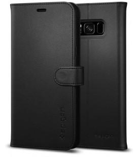 """Juodas atverčiamas dėklas Samsung Galaxy S8 telefonui """"Spigen Wallet S"""""""
