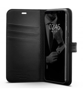 """Odinis juodas atverčiamas dėklas Samsung Galaxy J3 2017 telefonui """"Nillkin Qin"""""""
