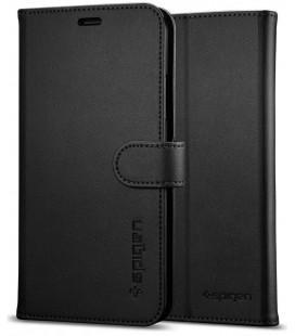 """Juodas atverčiamas dėklas Apple iPhone X telefonui """"Spigen Wallet S"""""""