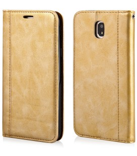 """Auksinės spalvos atverčiamas dėklas Samsung Galaxy J5 2017 telefonui """"Elegance"""""""