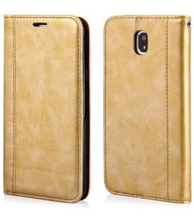 """Auksinės spalvos atverčiamas dėklas Samsung Galaxy J7 2017 telefonui """"Elegance"""""""