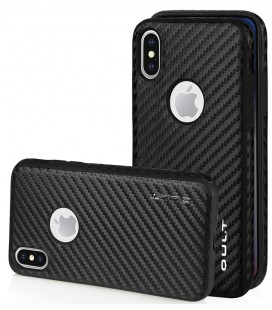 "Juodas CARBON dėklas Apple iPhone X telefonui ""Qult Carbon"""