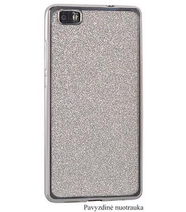 """Sidabrinės spalvos silikoninis blizgantis dėklas Samsung Galaxy J5 2017 telefonui """"Glitter Case Elektro"""""""
